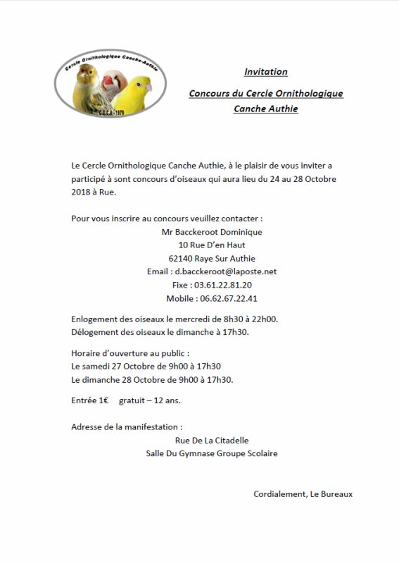 Exposition 2018 à RUE