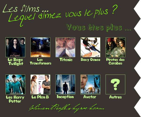 Article n°24 : Sondage : Les films... Lequel aimez vous le plus ? (Partie Article)