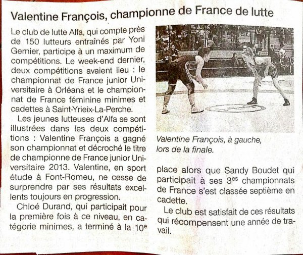 Valentine championne de France junior universitaire 2013