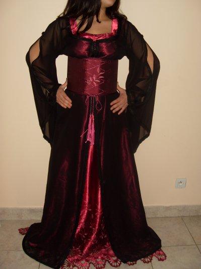 Caftan rose voile noir