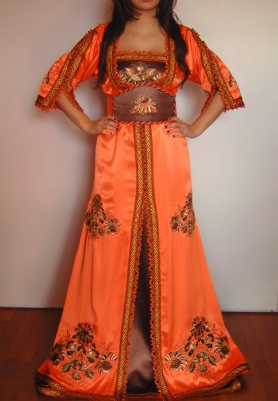 Caftan orange et marron