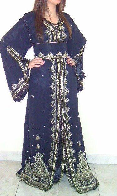 Caftan sari en mousseline noire