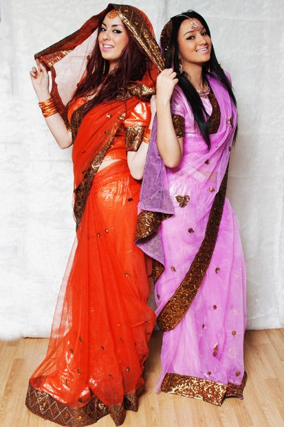 Sari orange et fushia