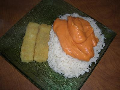 poisson pan avec du riz a la sauce aurore la cuisine c 39 est comme on aime cyril lignac. Black Bedroom Furniture Sets. Home Design Ideas