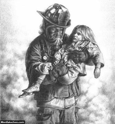 Un pompier qui sauve un enfant sapeur pompier - Dessin de pompiers a imprimer ...