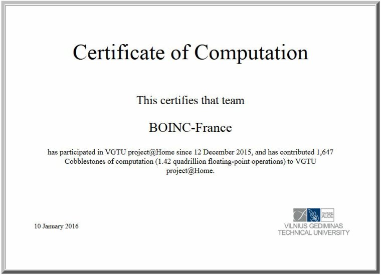 Certificat de Calcul VGTU project@Home