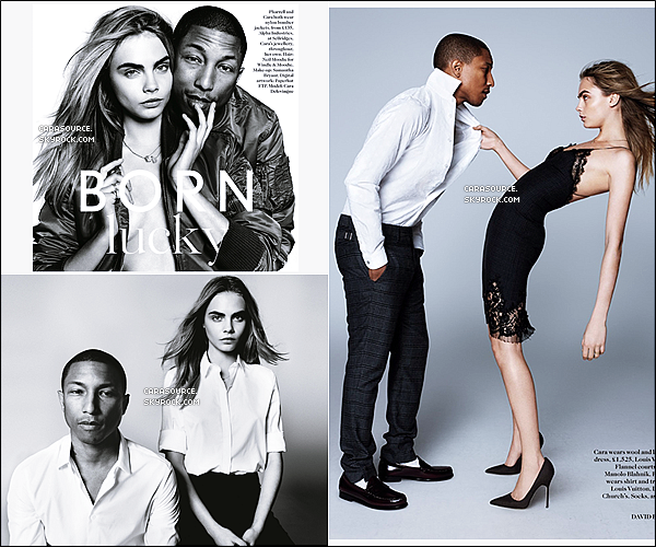 . C. Delevingne pose avec l'incroyable Pharrell Williams pour le magazine « VOGUE UK ».__.