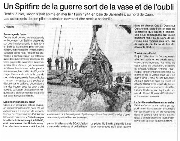 Un Spitfire et son pilote renfloués en Normandie