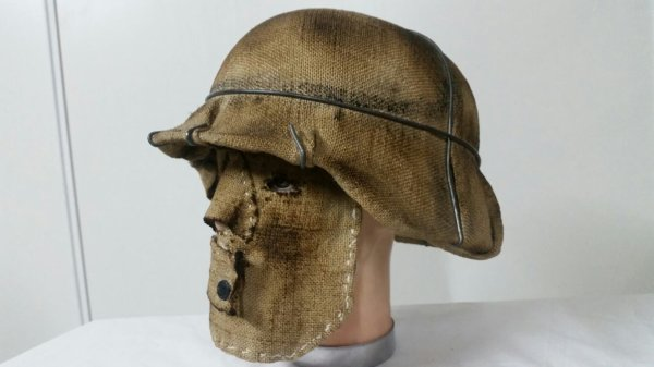 Superbe casque mdl 35  montage sniper  en toile de jute