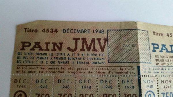Tiquer de ration  daté  1948