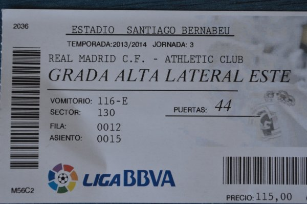 Billet du match entre le Real Madrid & Athletic Bilbao