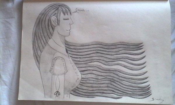 Sinistra pensant à Kanda, les cheveux au vent (en nuance de gris)