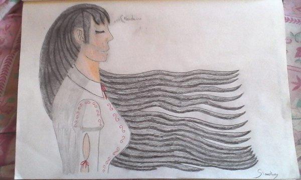Sinistra pensant à Kanda, les cheveux au vent (en couleur)
