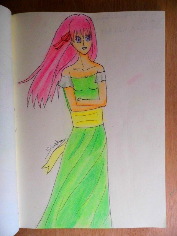 Jeune fille aux cheveux rose