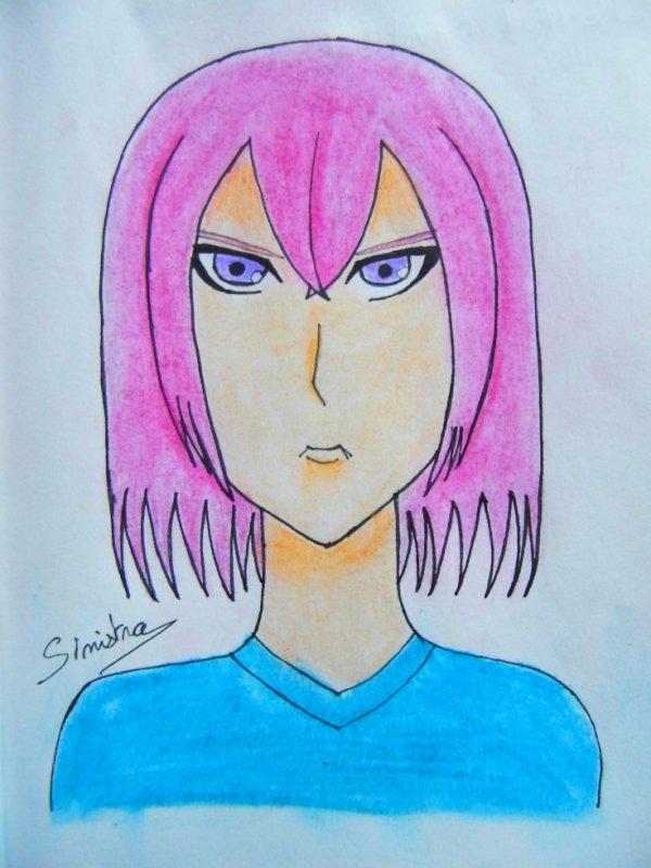 Jeune homme aux cheveux rose