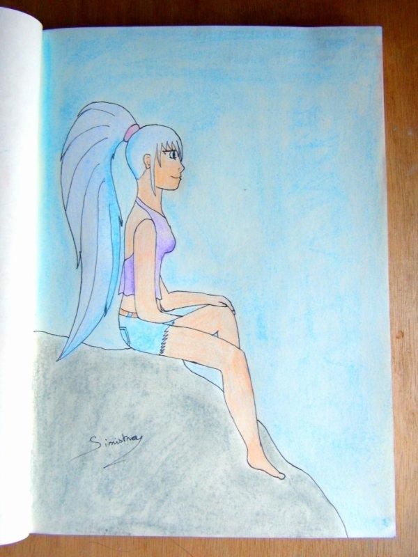 Jeune fille rebelle sur un rocher