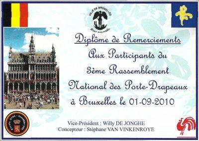 Reçu le 01-09-2010 à l'Hôtel de Ville de Bruxelles