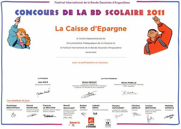 Diplôme du concours de la BD d'Angoulême