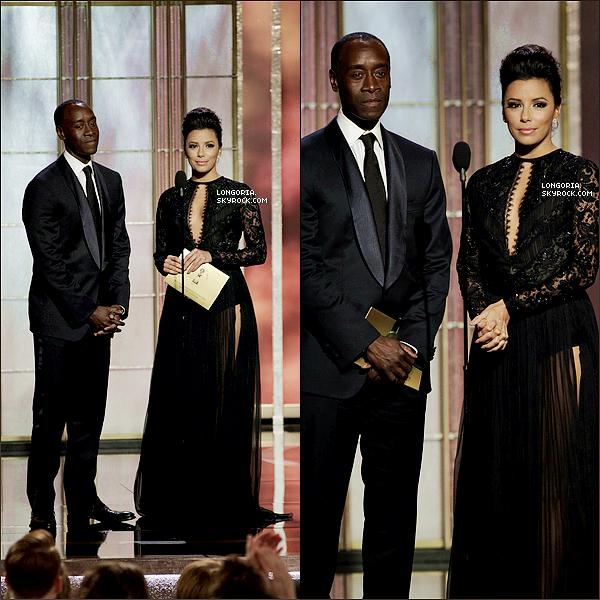 .13/01/13 : Eva Longoria été aux « 70th Annual Golden Globe Awards » à l'hôtel Beverly Hilton à Beverly Hills.La belle porter une robe Emilio Pucci, des escarpins Charlotte Olympia ainsi que des boucles d'oreilles de Martin Katz. .