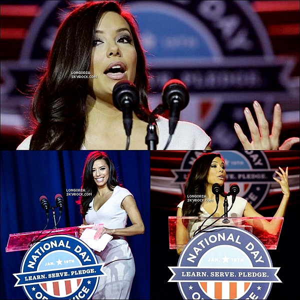 .19/01/13 : Eva a fait un discours lors du « National Day of Service 2013 » pour le second mandat d'Obama. .