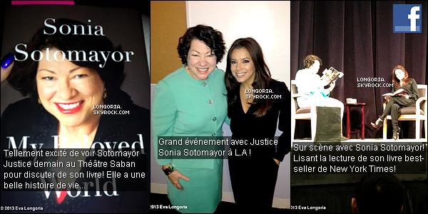 .26/01/13 : Notre bomba Latina était au « Saban theatre » afin de présenter le livre de Sonia Sotomayor. Sonia Sotomayor est une juriste, elle fait partie des neuf juges de la Cour Suprême des Etats-Unis d'Amérique. .