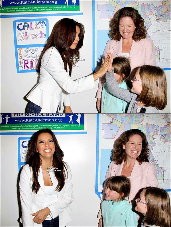 .20/02/13 : La sublime Eva Longoria s'est rendue dans une école de Los Angeles pour soutenir Kate Anderson..