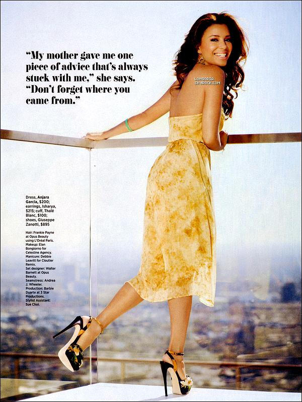 .Découvrer deux scans de notre sublime Eva pour le magazine « Cosmopolitan for Latinas »..