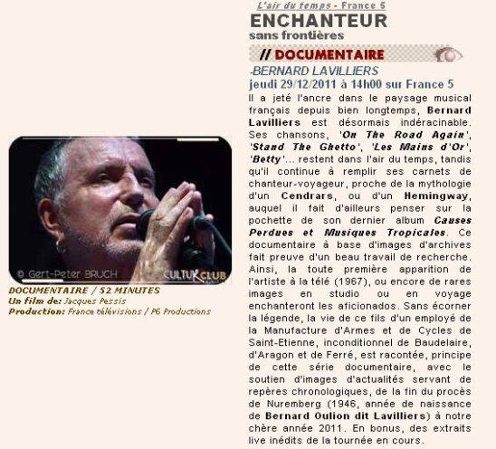A NE PAS RATER BERNARD LAVILLIERS SUR FRANCE 5 ,JEUDI 29 DEC 2011 14 H