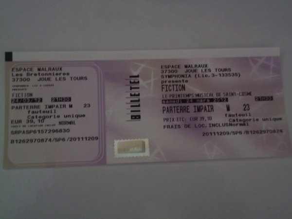 MON BILLET POUR LE CONCERT DU FESTIVAL PRINTEMPS MUSICAL DE SAINT COSME JOUE LES TOURS LE 24 MARS 2012