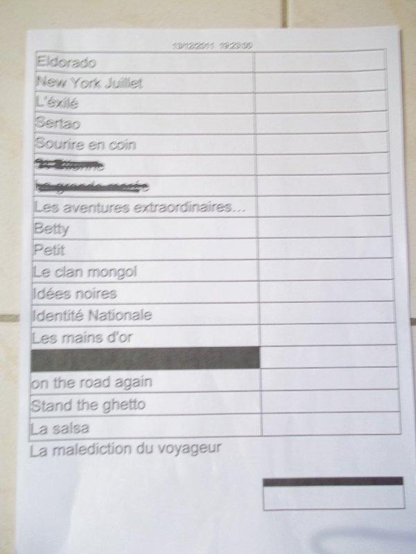 """SETLIST DU """"SUBLIME CONCERT PRIVE AU TROCADERO """" LE 13/12/2011"""