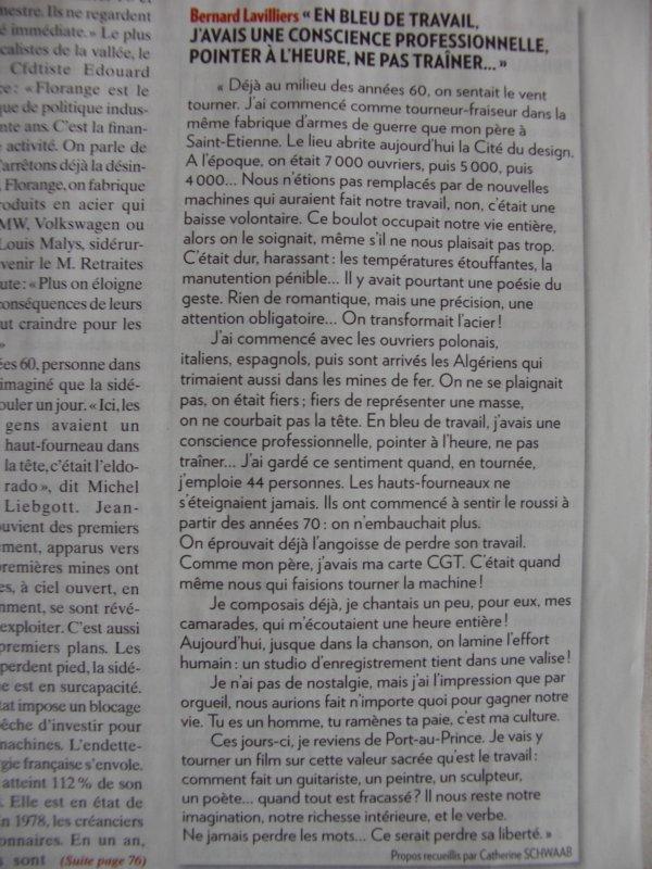 """ARTICLE """"PARIS MATCH """" DE CETTE SEMAINE"""