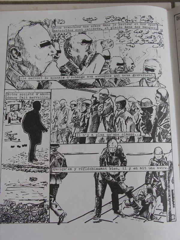 """mensuel """"microbe N°1"""" 1980 .ordre nouveau vient d'arriver ,texte bernard lavilliers dessin joelle gilles.bd 3 pages texte extrait de la grande marée 33t le stéphanois"""