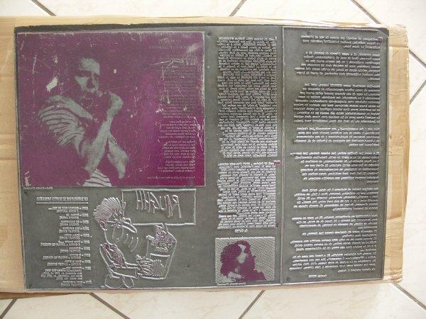 authentique pièce unique collector  plaque imprimerie  1983    29x41   de bernard lavilliers