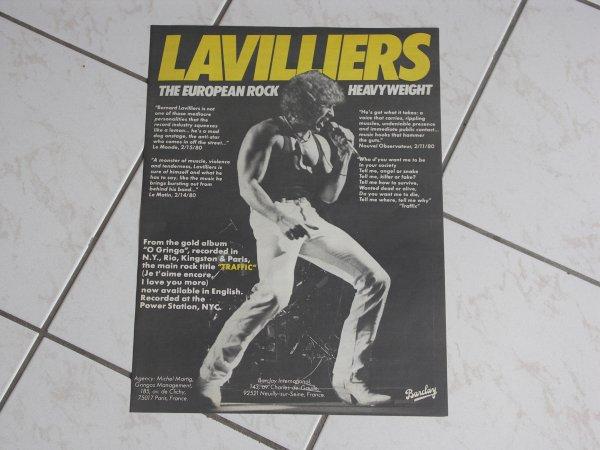 BERNARD LAVILLIERS European Rock HEAVYWEIGHT 1980 PROMO POSTER ETATS UNIS