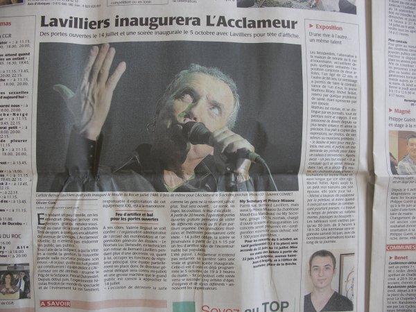 "bel article pour l'inauguration salle ""l'acclameur"" a niort (79) 5 oct 2012"