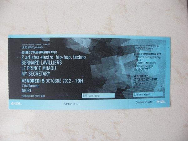 """mon billet pour """" NIORT""""  le 5 oct 2012"""