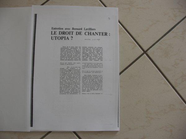 """voici le """"premier dossier de presse barclay """" de bernard lavilliers annee 1976/1977"""