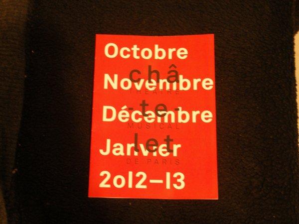 "programme ""le châtelet "" ou sera bernard le 26 novembre  2012 (merci manue)"