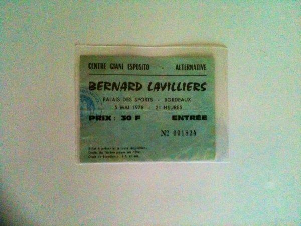 billet palais des sports bordeaux 5 mai 1978 (cadeau offert avec le billet photo de presse)