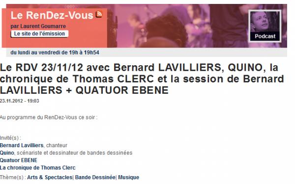 Le RDV 23/11/12 avec Bernard LAVILLIERS