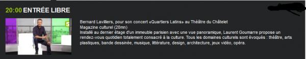 ce soir 20h00 france 5 _Bernard Lavilliers, pour son concert «Quartiers Latins» au Théâtre du Châtelet  Magazine culturel (20mn)