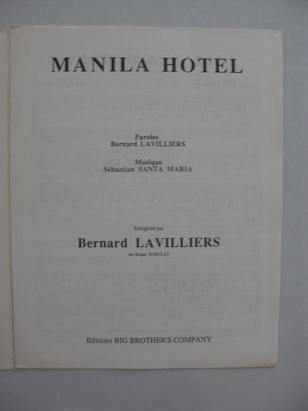 """ manila hôtel ""  rare partition 1991"