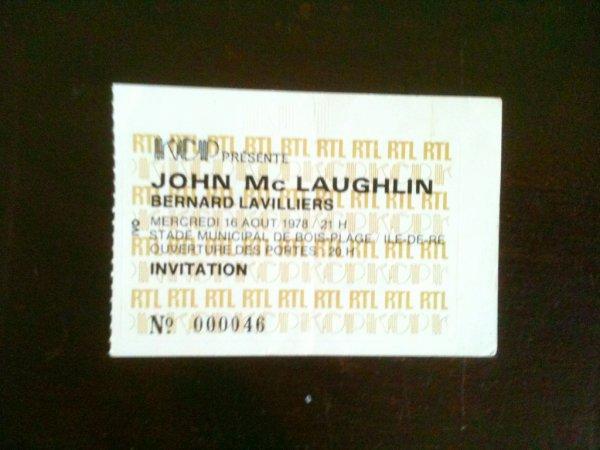 rare billet août 1978 concert de bernard lavilliers avec jhon mc laughlin ile de ré