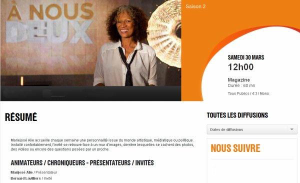 """BERNARD LAVILLIERS DANS L EMISSION """"A NOUS DEUX"""" DE FRANCE O"""