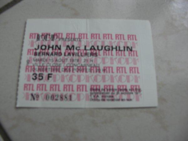 BILLET AOUT 1978 CONCARNEAU,........JOHN MAC LAUGHLIN ET BERNARD LAVILLIERS EN TOURNEE
