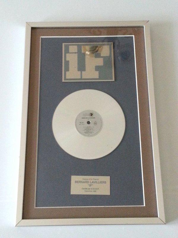 """voici le disque d'or de bernard lavilliers certifié snep décembre 1989 album """"if"""""""