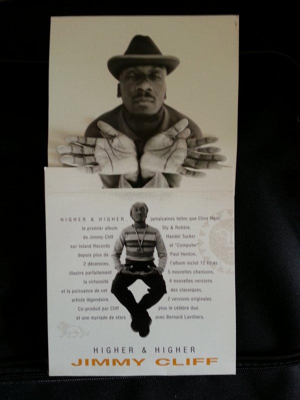 PLAQUETTE PLV PROMO CD 3 TITRES JIMMY CLIFF /BERNARD LAVILLIERS