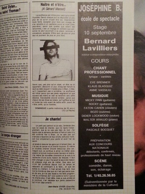 publicité pour l'école joséphine b crée par bernard lavilliers de 1987