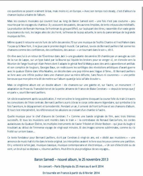 """un document réservé au média ....pour la sortie de l'album"""" baron samedi"""" de bernard lavilliers"""