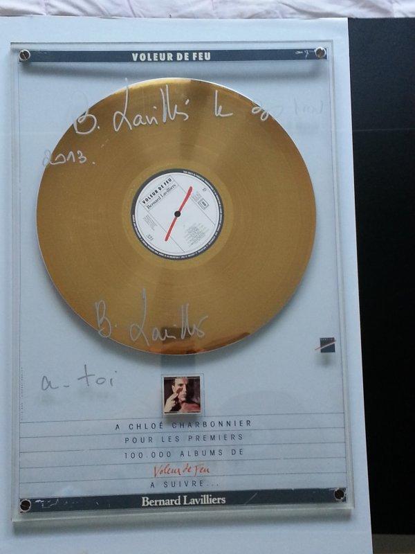"""fnac montparnasse 30 nov 2013 belle dédicace de bernard  lavilliers sur mon disque d'or pièce  exceptionnelle """"voleur de feu"""""""